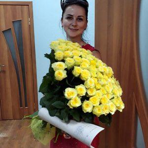 101 желтая роза в Одессе фото