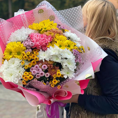 микс букет хризантем в Одессе фото